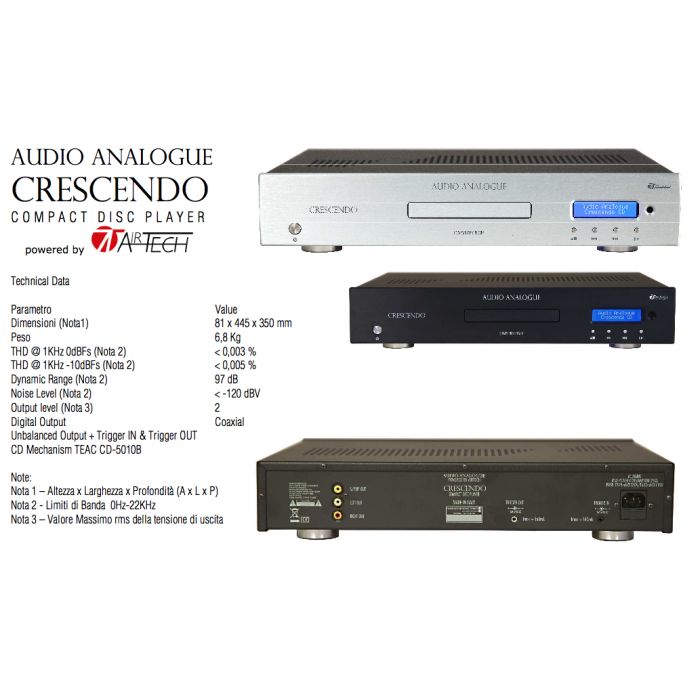 AUDIO ANALOGUE CRESCENDO CD PLAYER Airtech LETTORE CD NERO